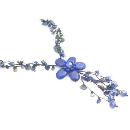 N936  Blue Lapiz Nugget Femine Necklace New Fashion Style Flower Tassel Necklace