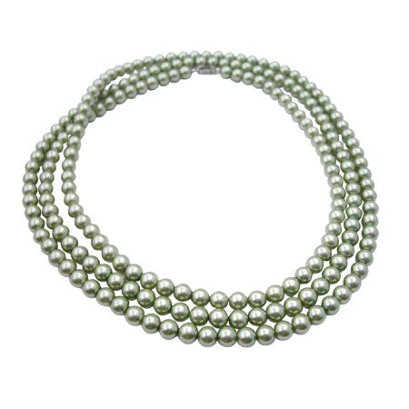 N925  Green Pistachu Long Necklace 62 Inches