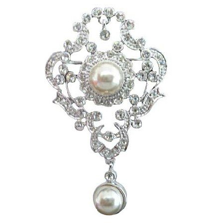 B018  Victorian Antique Style Pin Brooch w/ Pearls Dangling Unique Bridal Pearls Brooch