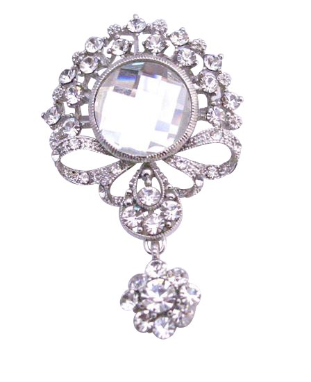 B178  Simulated Diamond Dangling Brooch Cubic Zircon Brooch Sparkling Diamond Brooch Dangling