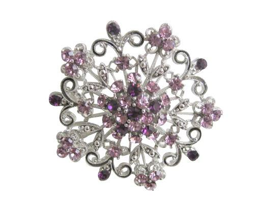 B204  Amethyst Round Brooch Sparkling Amethyst Crystals Light & Dark Crystals Swirly Gift Brooch