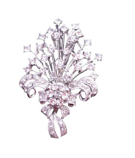 B167 Bouquet Diamond Brooch Fully Embedded w/ SIMULATED Diamond Bouquet BROOCH