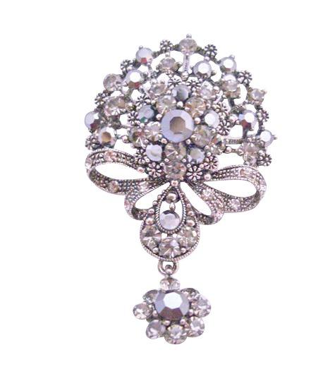 B166  Victorian Style Black Oxidized Black Diamond Crystals Dangling Brooch w/ Cubic Zircon Brooch