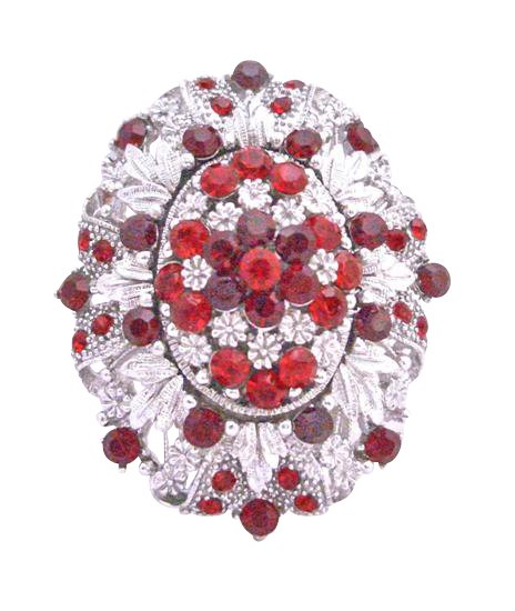 B180  Silver Casting Brooch Decorated w/ Siam Red Crystals Light & Dark Gorgeous Brooch