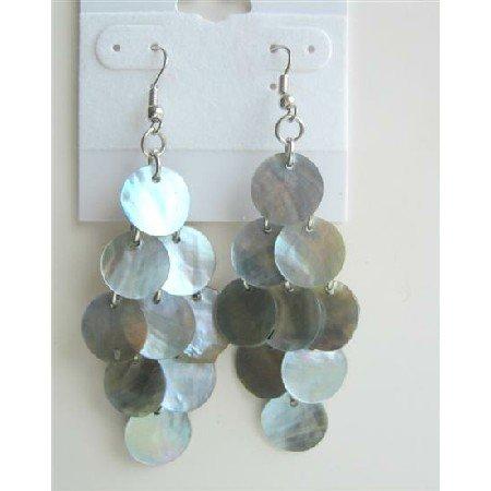 UER145  Mop Shell Dangle Earrings Natural Shell Earrings