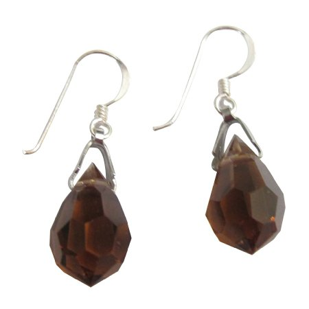 ERC138  Teardrop Crystals 925 Silver Earwires Smoked Topaz Crystals Earrings