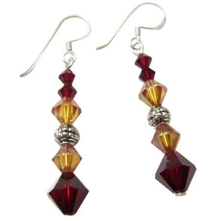 ERC162  Genuine Crystals Handcrafted Jewelry Sterling Silver & Crystals Earrings