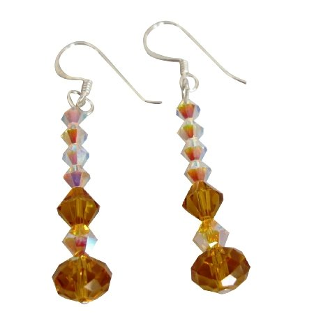 ERC165  Genuine AB & Topaz Crystals Sterling Silver French Wire Earrings