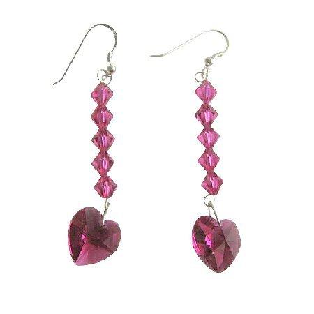 ERC402  Romantic Earrings Fuschia Heart Swarovski Crystals Sterling Silver 92.5 Earrings