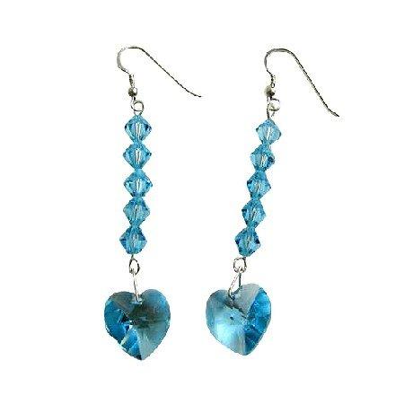 ERC407  Aquamarine Sparkling Crystals Earrings Genuine Swarovski Crystals Aquamarine Heart Earrings