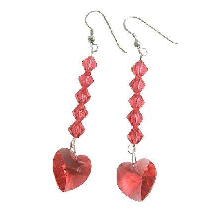 ERC405  Swarovski Crystals Heart Earrings Genuine Crystals Beads Dangling Earrings Sterling Silver