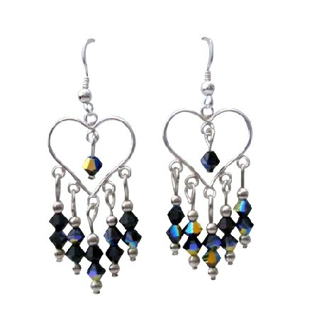 ERC270  Sterling Silver Heart Earrings w/ Genuine AB Jet Swarovski Crystals Earrings