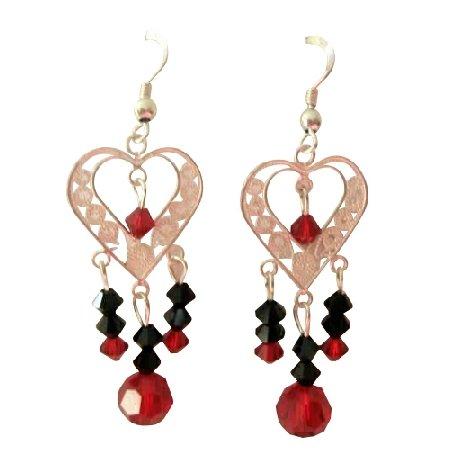 ERC285  Sterling SIlver Heart Chandelier Earrings w/ Genuine Swarovski Crystals