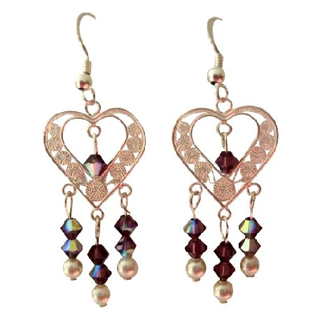 ERC282  AB Amethyst Swarovski Crystals Sterling SIlver Heart Chandelier Earrings