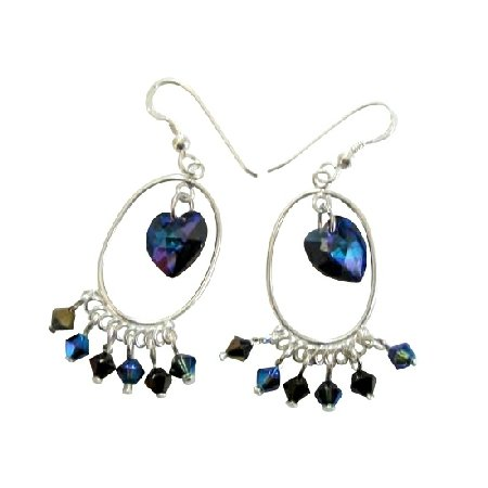 ERC250  Swarovski Morion AB 2X Crystals And AB Dorado Crystals Sterling Silver 92.5 Earrings