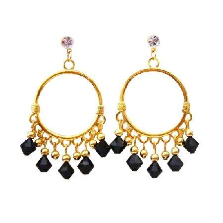 ERC325  Black Jet Swarovski Crystals Chandelier 22k Gold Plated Chandelier Earrings