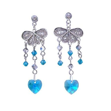 ERC233  Heart Dangling Blue Zircon Swarovski Crystals Sterling 92.5 Silver Chandelier Earrings