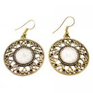 UER463  Gold Metal Elegance Fills The Ears Gold Metal Round Earrings Dangle Ethnic Design