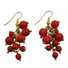 UER477  Coral Cluster Earrings Beautiful Gift Red Dangle Earrings