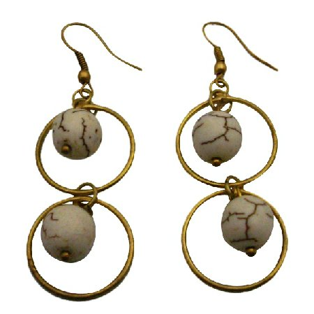 UER487  Jewelry Rings Earrings Round Circle With White Turquoise Dangling Earrings
