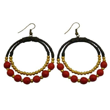 UER493  Jewelry For You Or As Gifts Round Circle Dangling Earrings