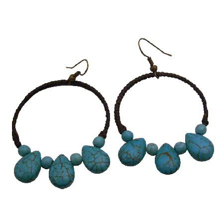UER502  Shop Perfectly Boho Fantasy Stunning Turquoise Earrings