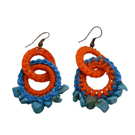UER504  Bohemian Handknitted Orange Turquoise Earrings With Tuquoise Nuggets