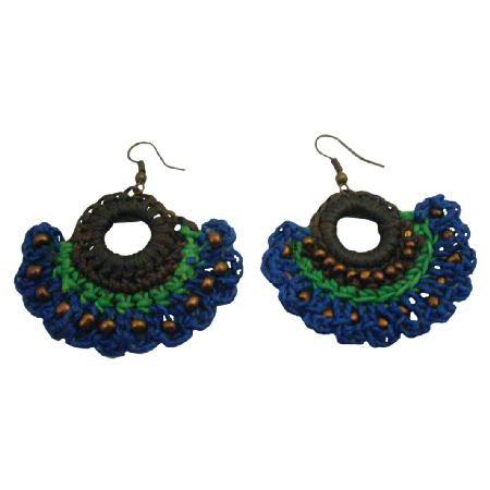 UER514  Attractive Crochet Earrings Combo Deep Brown Blue Green Earrings