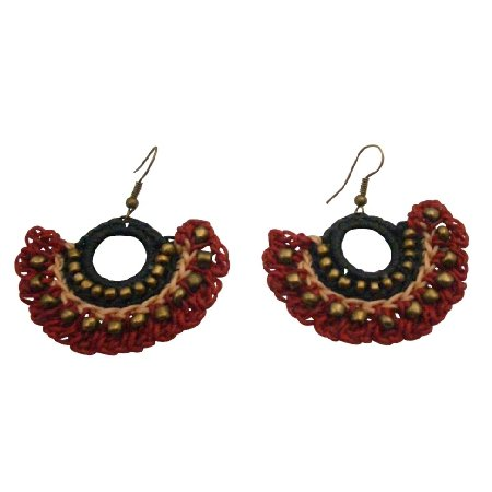UER516  Crocheted Jewelry Beautiful Handmade Fashionable Earrings