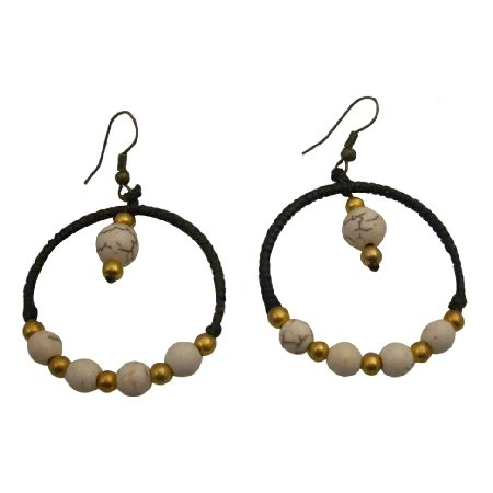 UER519  Stylish Crocheted Earrings White Turquoise Golden Beads on Wax Cord