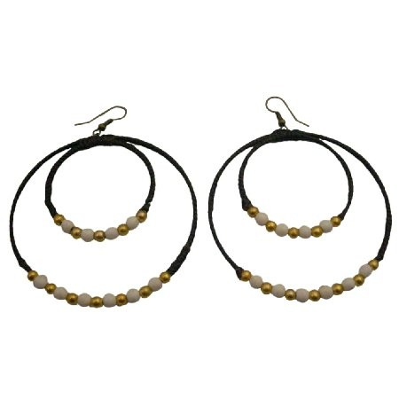 UER522  White Turquoise Double Hoop Earrings With Golden Beads