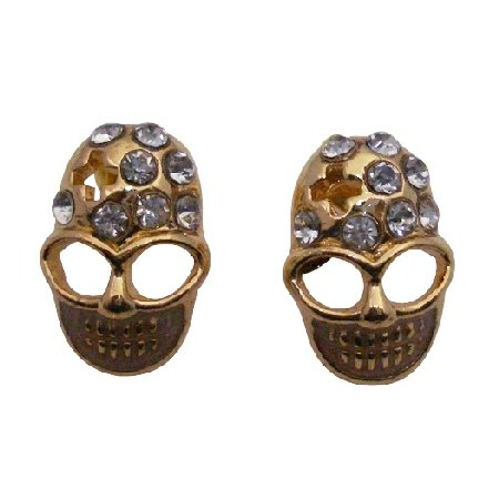 D234  Gold Skull Head Earrings With Clear Stud Decorated Earrings