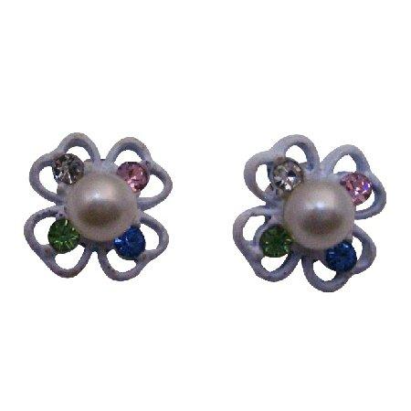 D238  Flower Stud Earring With Multicolored Rhinestones