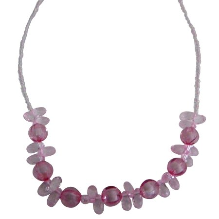 GC283  Funky Pink Beads Necklace For Young Girls Gift