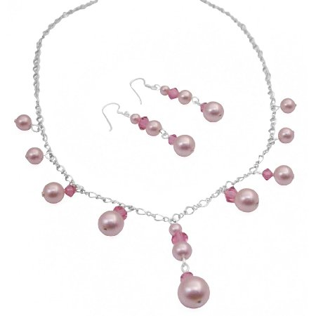 BRD1020  Romantic Rose Crystals And Pink Genuine Swarovski Pearls Bridesmaid Necklace Sets