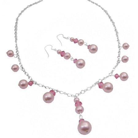BRD1020  Romantic Rose Crystals And Pink Genuine Swarovski Pearls Bridesmaid Necklace Sets
