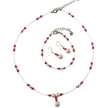 BRD1028  Red Crystals And White Pearls Illussion Bridal Complete Jewelry Set