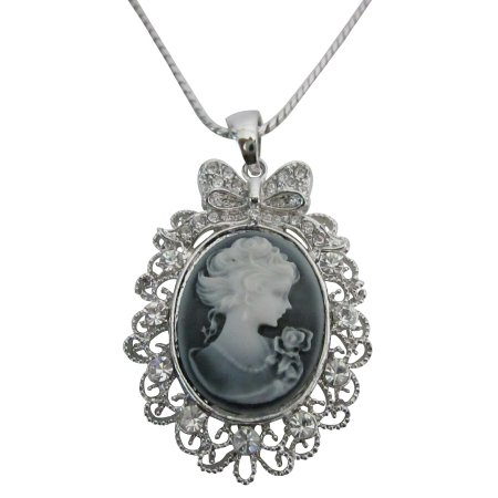 N565  Victorian Cameo Lady Pendant Necklace Sparkling Silver Casting Frame w/ CZ Surrounded Necklace