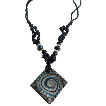 UNE337  Murano Square Glass Pendant Necklace