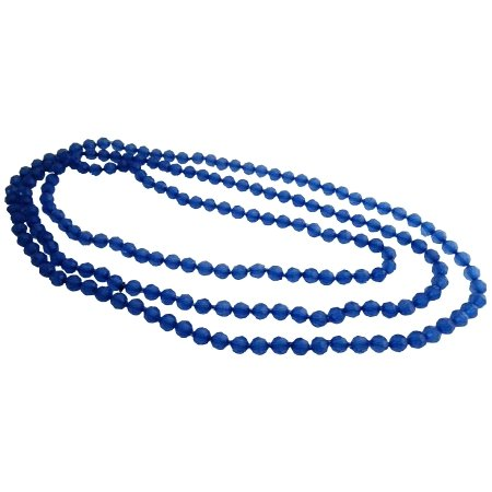 UNE328  Summer Long Blue Sapphire Long Necklace Summer Necklace