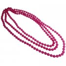 UNE329  Shopping Beach Necklace Pink Multifaceted Round Glass Bead Necklace
