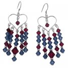 ERC726  Swarovski Ruby Crystals And Silver Earrings