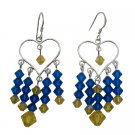 ERC727  Fashion Design Blue Crystals Earrings For Young Girls