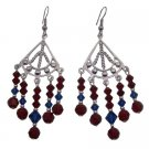 ERC729  Beautiful Red Blue Crystals Silver Chandelier For Wedding