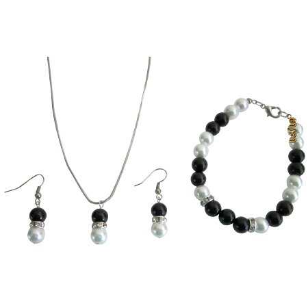 NS1050  Fashion Jewelry In Black & White Pearls Necklace Earrings & Bracelet Jewelry