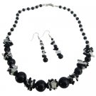 NS1051  Glass Beads Black And White Cracked Beads With Black Pearls Necklace Set