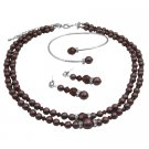 BRD1012  Handcrafted Double Stranded Burgundy Pearls Crystals Jewelry Set Formal Wear