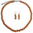 NS1027  High End Jewelry Fall Season Orange Cat Eye Necklace Earrings Set