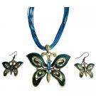 NS1031  Ethnic Aquamarine Rhinestone Blue Green Butterfly Jewelry Set