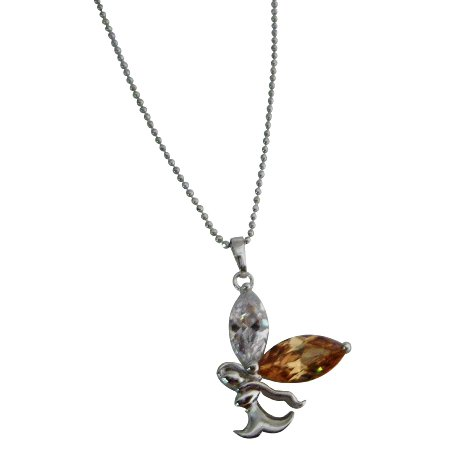 UNE319  Lite Copper Crystals Angel Pendant Christmas Gift